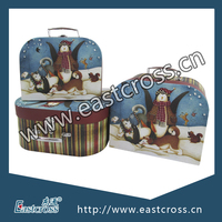 Christmas Design Paper Suitcase Box with Metal Handle