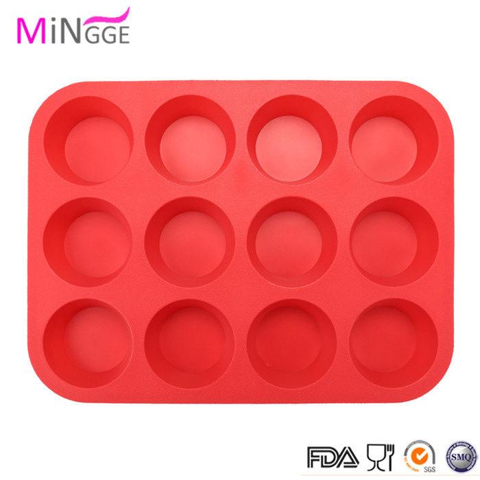 fda lfgb strandar home use bakeware Silicon muffin pan with 12 cup