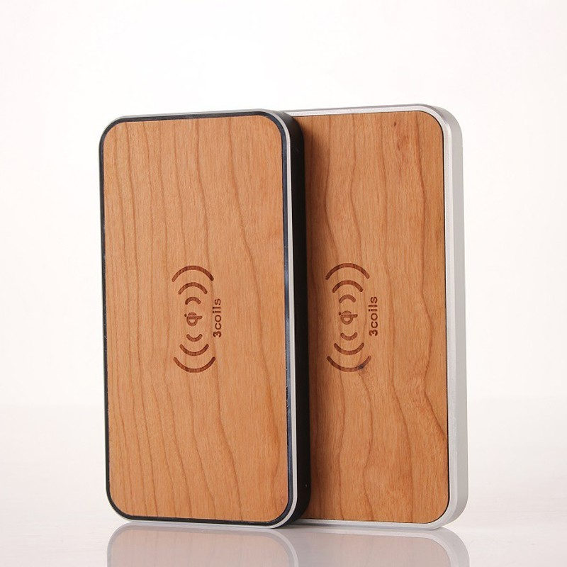 3 coils Wooden Qi Wireless Charger Charging Pad for Smart Phone Tablet PC