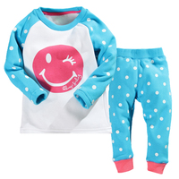 wholesale children clothing cutomized smile printed pattern kids thermal pajamas