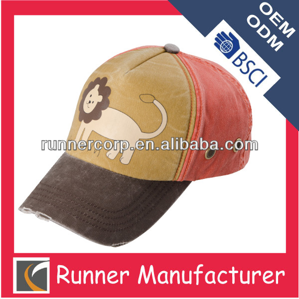 Lovely Lion Printed Red Baseball Cap