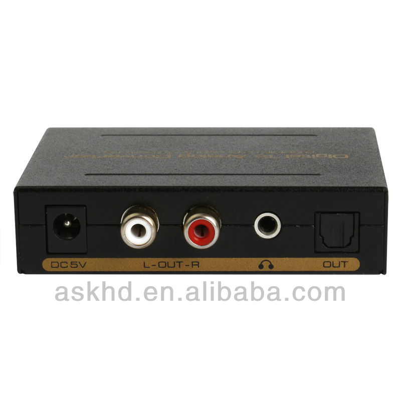 Digital Optical Coax to Analog RCA Audio Converter Adapter 24-bit 96 KHz