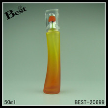 fragrance perfume 50ml gradient orange curve shaped slim pretty frosted glass spray cosmetic bottle