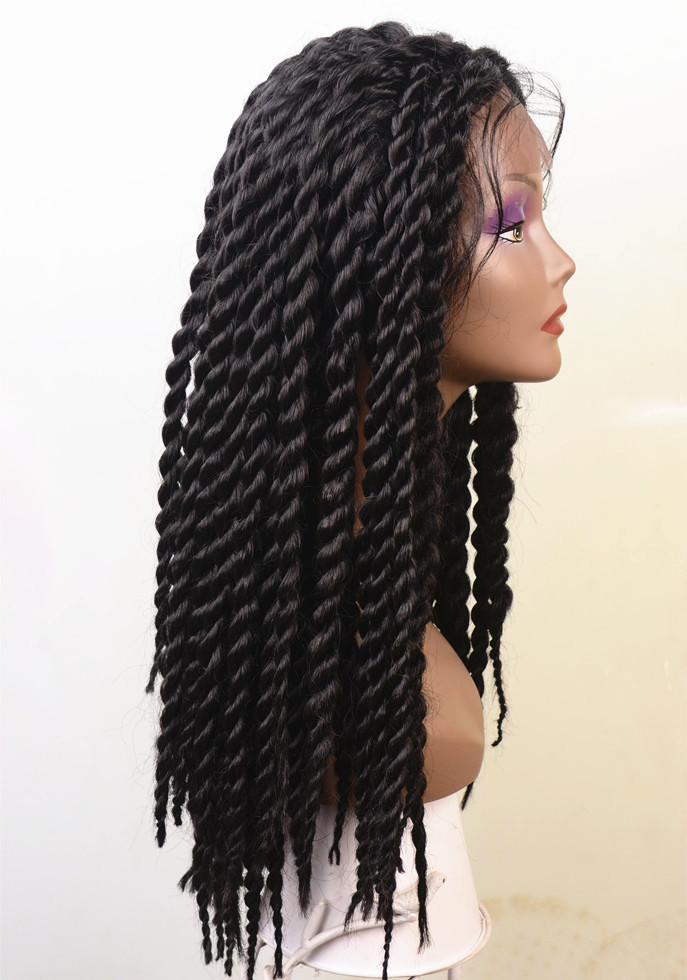 alibaba express natural black synthetic kinky twist braided frontal lace hair wig
