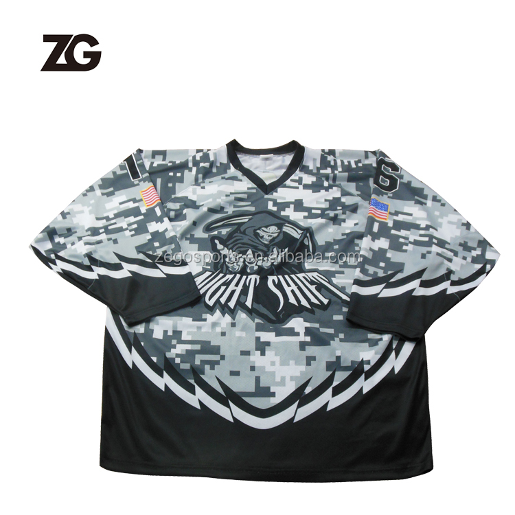 Top Quality Custom Sublimated Camo Hockey Jersey Team Design Playing Shirt