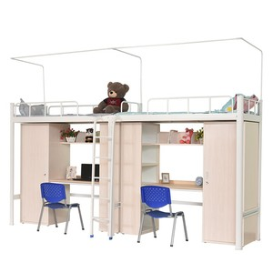Morden style factory school dormitory steel double bed and desk
