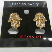 gold earrings new model 2012 hand shaped alloy earrings with stones