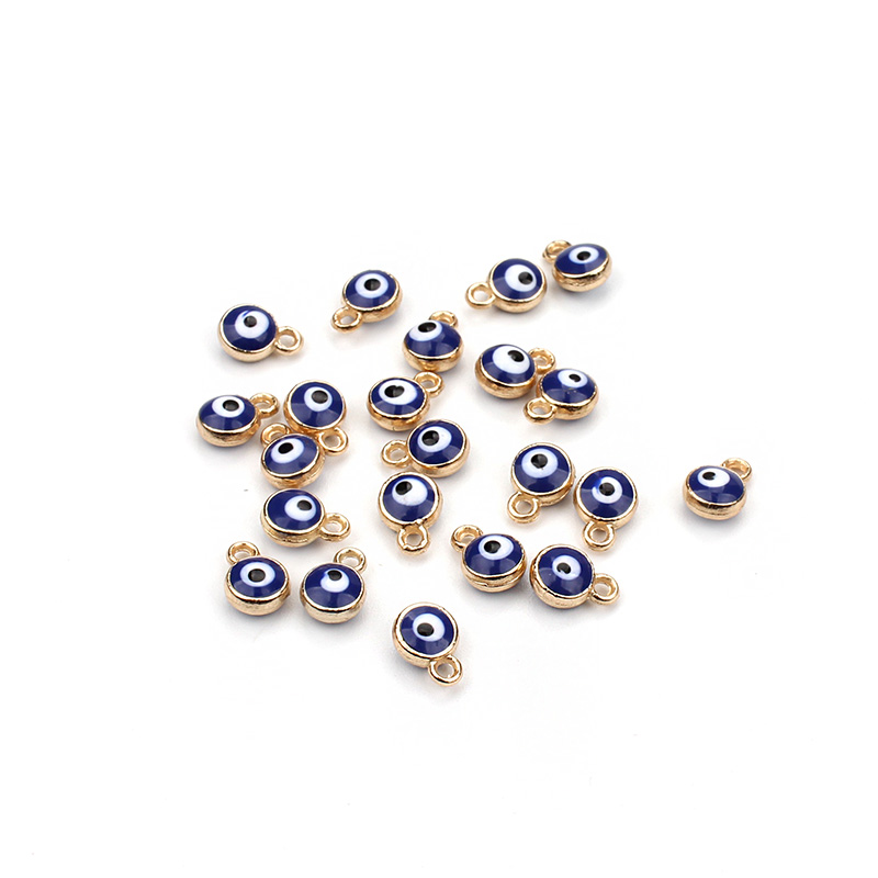 Lucky Gold Evil Eye Beads Pendent Connector Bracelet Necklace <strong>Charms</strong>