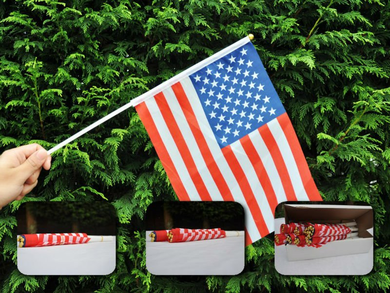 USA Hand Waving Flag 20*30 cm on 40 cm Pole