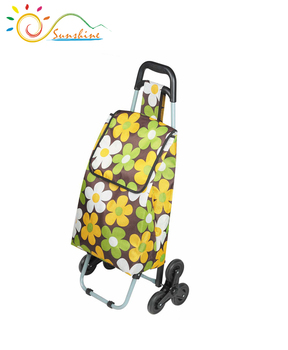 Foldable hand cart folding three wheel shopping trolley made in china