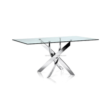Modern steel frame 6 Seater glass dining table for office and dining hall