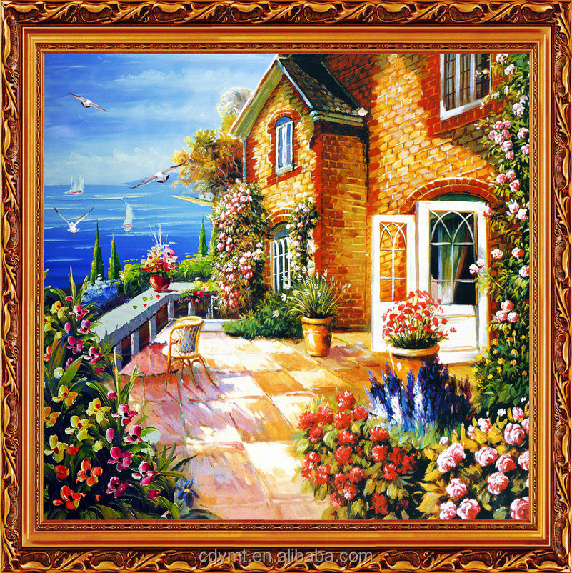 China factory high resolution custom village scenery oil painting on canvas