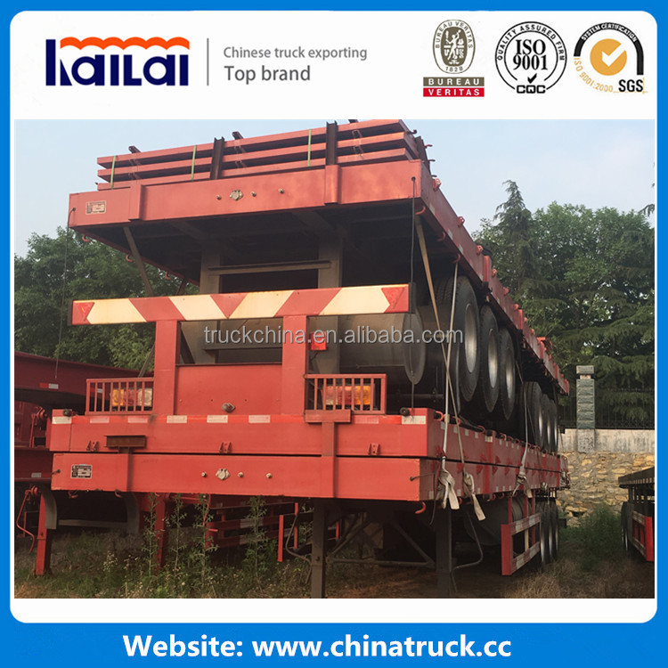 Tri axle platform high bed trailers 40ft flatbed trailer container semi trailers for Overseas market