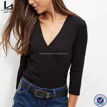 Black plain women V neck wrap front t shirt 3/4 sleeves slim fit t shirt