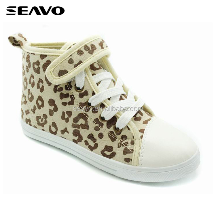 SEAVO SS17 china wholesale custom logo girl's leopard accent injected pvc mid cut brown lace up canvas sneakers