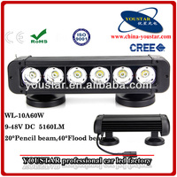 Single Row led bar, 5160lm 6PCS*10W 60W USA CREE LED Light Bar Off-road driving light 4X4 work headlight ATV light