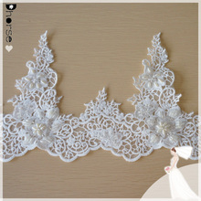 Fancy White Flower Lace Chiffon Fabric Trim /Alencon lace trims for wedding gowns by Yard DHBL1885