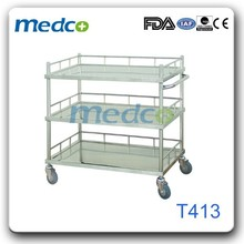 3-tier stainless steel medical instrument trolley T413