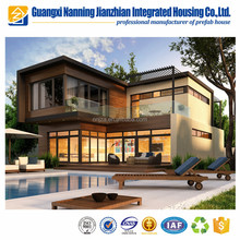 Stackable Light steel frame prefab villa luxury house with deck floor on sale