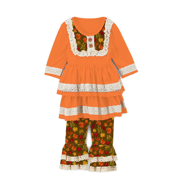 2017 Yawoo little girls clothing websites tunic with ruffle pants boutiques for kids cotton with crochet lace kids clothing site