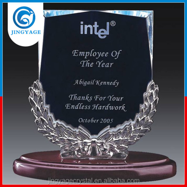 Jingyage customized employee of the year crystal plaque trophy best wokers crystal glass award trophy souvenir gifts
