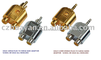 Audio Adapter 3.5mm mono/RCA PLUG to 2RCA jack gold/nickel