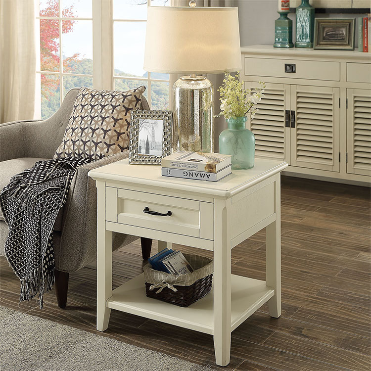 simple french country style living room wooden end table