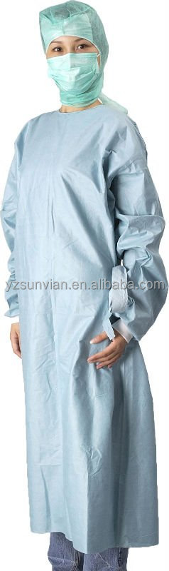 Hot sell Mediacl Anti-bacterial latex free Sterilized Blue,Green,Dark Green Surgical Gown