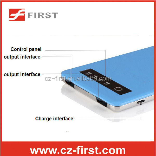 ultrathin 5000mah power bank with Double usb port LED power indicator