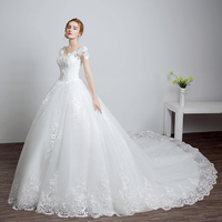 Online design Lace Up V-neck wedding dress with long tail