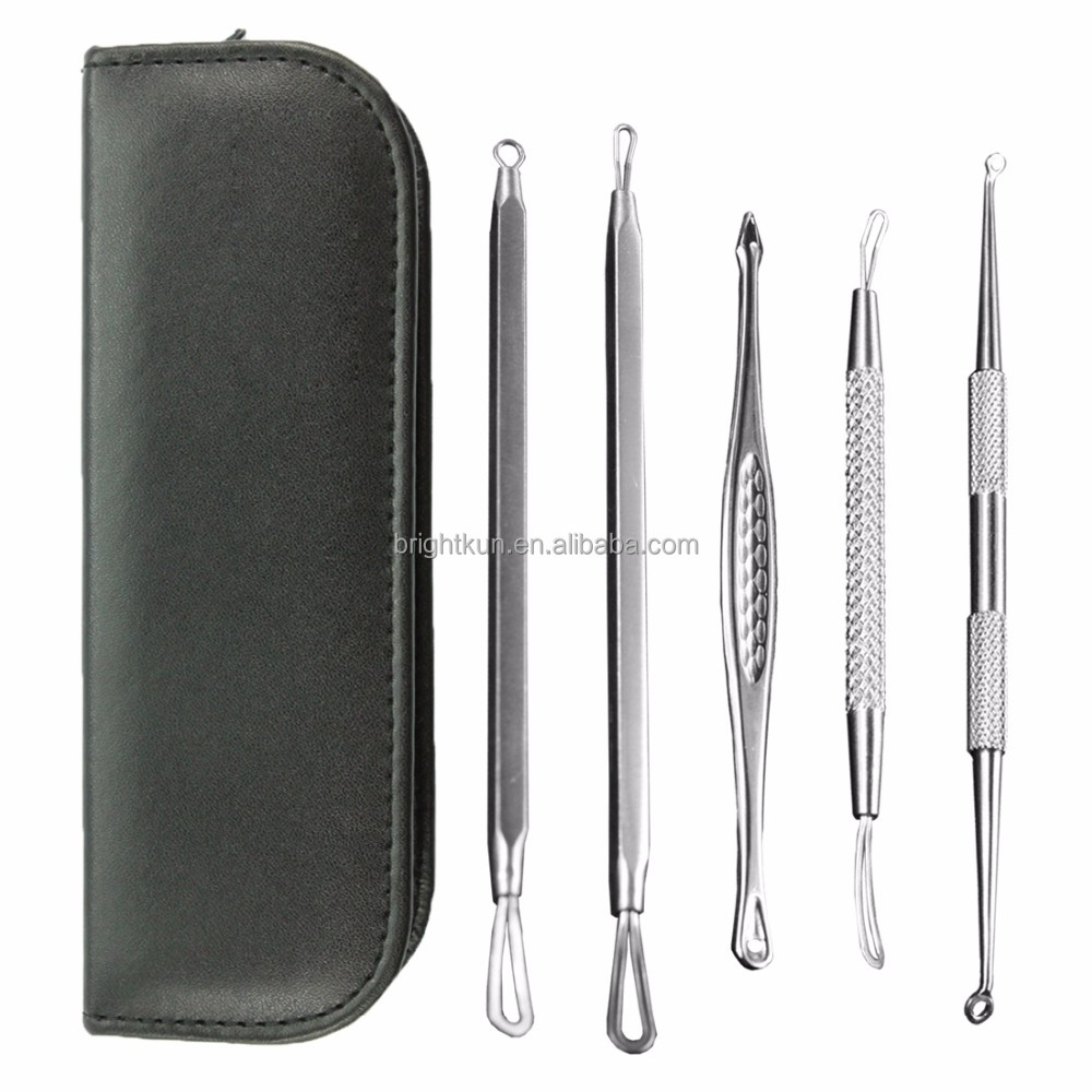Best Selling Blackhead Remover Tweezers Curved Acne Extractor Pimple Needle Comedone Bend Kit