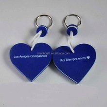 Custom heart shape eva key chain , 1 color printing on 2 sides foam key holder