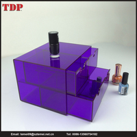 Plastic Purple Cosmetic Storage 4 Tier Drawers Acrylic Makeup Organizer