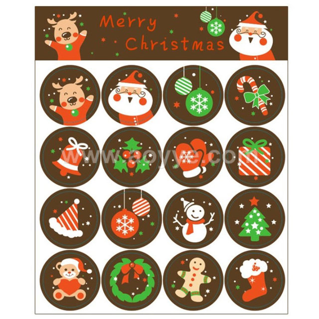 South Korea new year cute cartoon santa elements present circular decorative adhesive paper packaging label sealing stickers