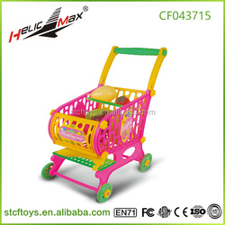 Hot sale kids plastic toy baby shopping cart toy kids cart supermarket toy with food and vegetable