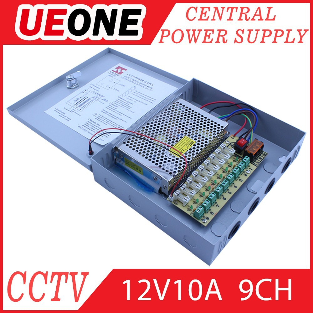 9channels cctv security DC 12v 10 amp power supply for cctv