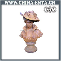 Quality Oem life size bronze flower maiden bust sculptures