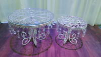 Unique shape glass mirror cake stand with pendants , metal cake stand