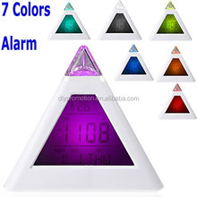 Single 7 LED Color Changing Pyramid Digital LCD Alarm Clock Thermometer C/F Desktop Table Clocks Despertador Weather Station