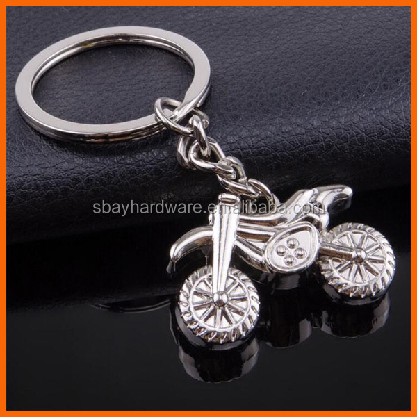 Motorcycle shaped custom made metal keychain