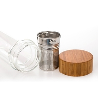 Double Wall Glass Water Bottles With Tea Infuser and Bamboo Lid