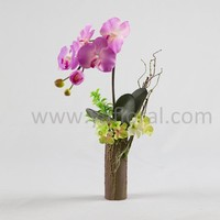 Artificial potted silk orchids with green leaves artificial potted plants for home decor