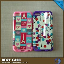 New arrival 2 in 1 combo case for ipod touch 5 pc silicone cover case made in china