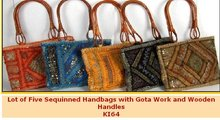 Lot of Five Sequinned Handbags with Gota Work and Wooden Handles KI64