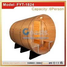Outdoor red cedar barrel sauna steam room with sauna heater on sale
