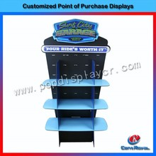 Hot sale shopping mall floor standing toys double sided wood display shelf