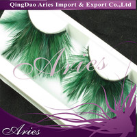 DARK GREEN INDIVIDUAL FEATHER EXAGGERATE SUPER LONG PARTY FAKE FALSE EYELASH