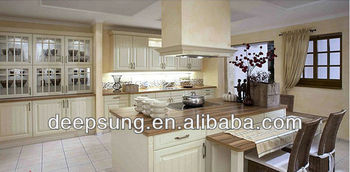 foshan modern style Solid wood kitchen cabinet