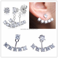 hot sale 925 silver jewelry earrings AAA cubic zirconia ear jackets