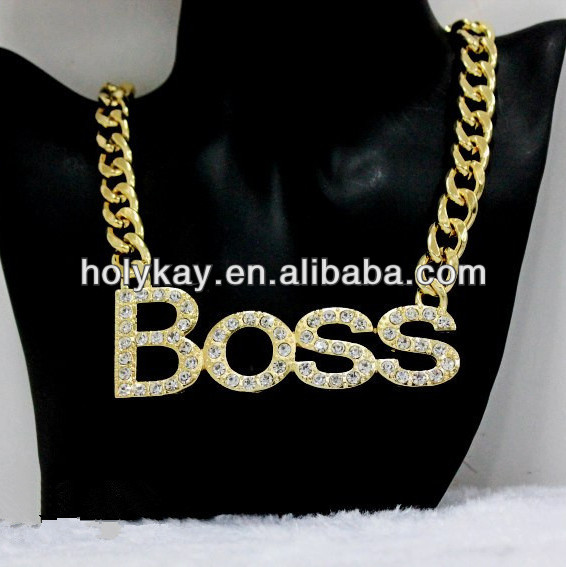 2014 latest products fashion gold plating crystal boss letter pendant necklace jewelry buy from china